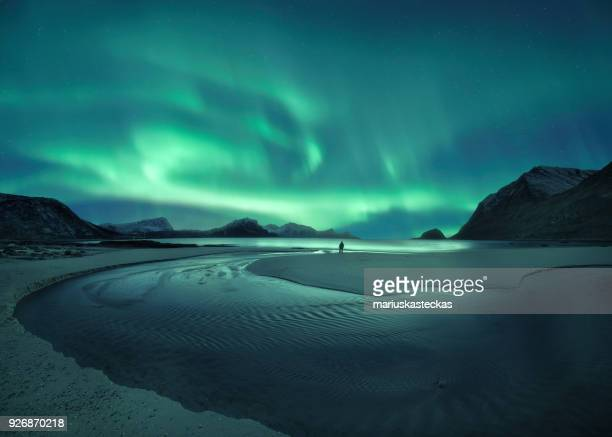 northern lights over the beach, lofoten, norway - impressionante foto e immagini stock