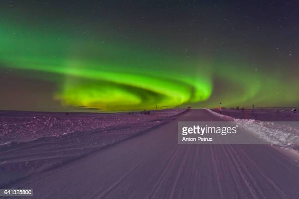 Northern lights over the road in tundra