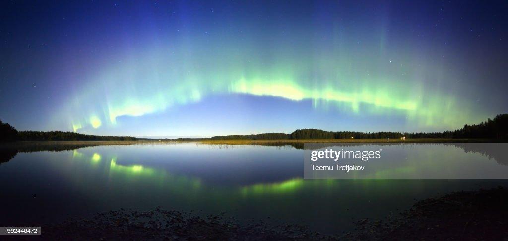 Northern Lights Panorama : Stock Photo