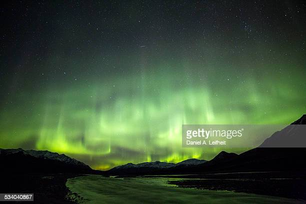 northern lights - mt mckinley stock photos and pictures