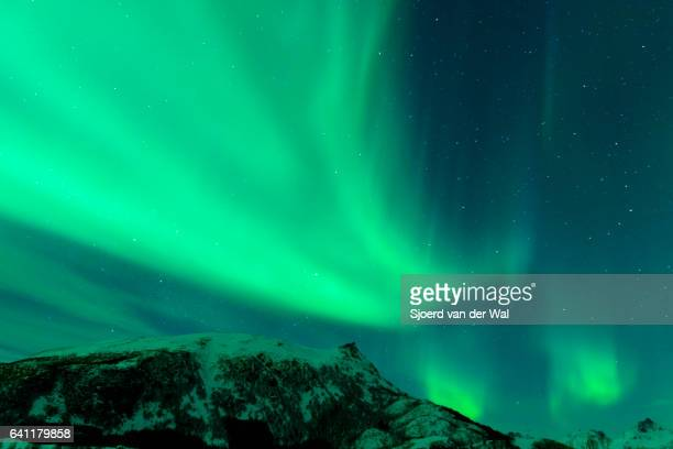 "northern lights, polar light or aurora borealis in the night sky - ""sjoerd van der wal"" ストックフォトと画像"