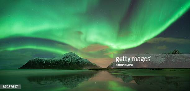 Northern lights, Skagsanden beach, Lofoten, Norway
