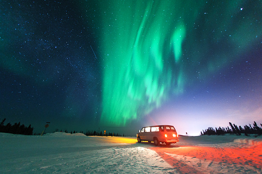 Northern lights with van - gettyimageskorea