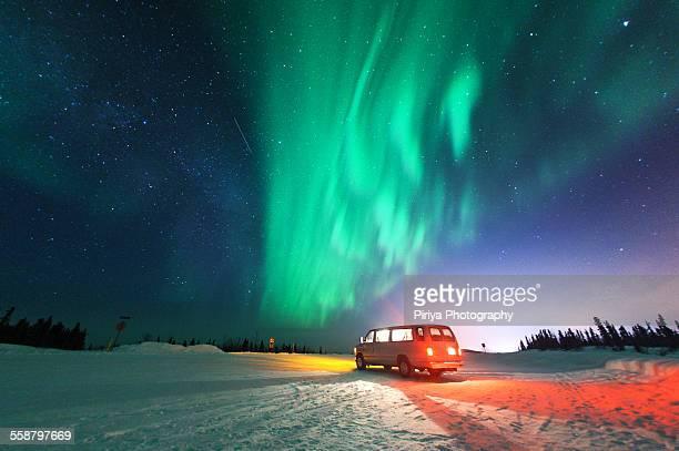 Northern lights with van