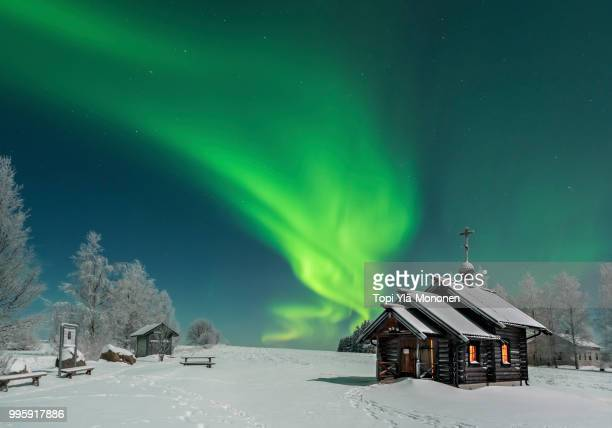 northern ligths in ilomantsi sonkaja.  orthodox chapel. - finland stock pictures, royalty-free photos & images