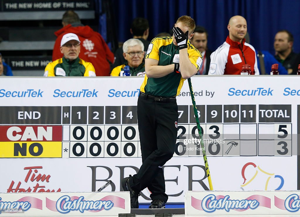 Northern Ontario skip Brad Jacobs reacts after losing an end in the gold medal game in curling against Team Canada during the Tim Horton's Brier at the Scotiabank Saddledome on March 8, 2015 in Calgary, Alberta, Canada.