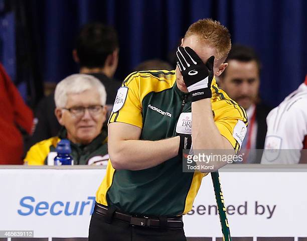 Northern Ontario skip Brad Jacobs reacts after losing an end in the gold medal game in curling against Team Canada during the Tim Horton's Brier at...