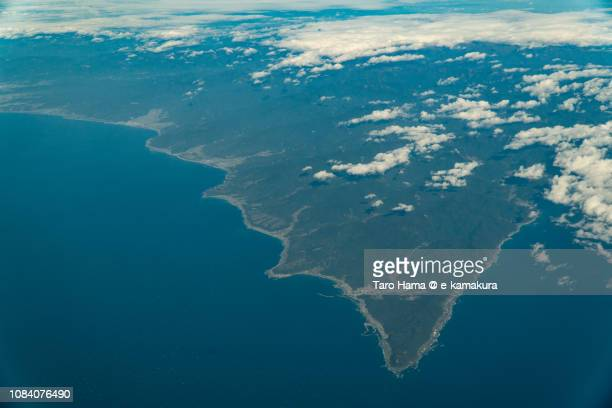 Northern Pacific Ocean and Muroto Cape in Kochi prefecture in Japan daytime aerial view from airplane
