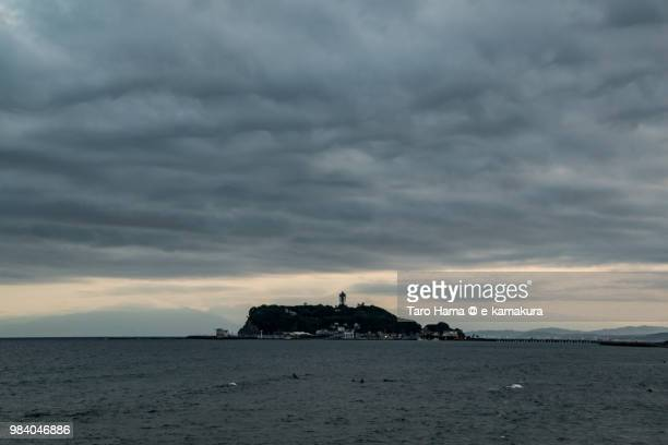 Northern Pacific Ocean and thunder clouds on Enoshima Island in Fujisawa city in Japan