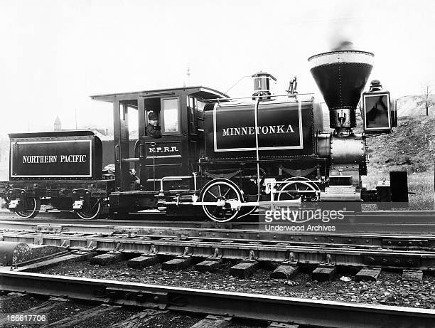 Northern Pacific's first steam locomotive the Minnetonka which was purchased to build a railway from Kalama Washington north to Tacoma on Puget Sound...