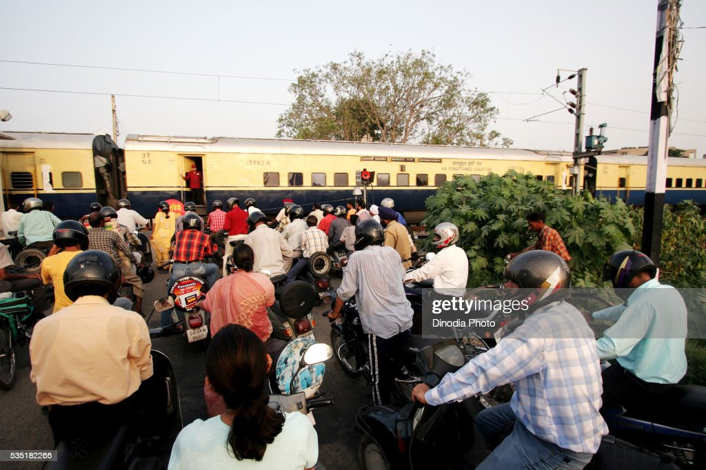 Northern Railway crossing in Chandigarh, Punjab, India.