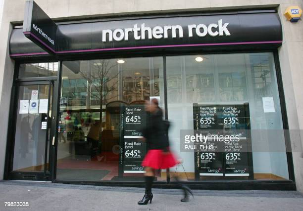 A Northern Rock bank branch is pictured in Liverpool in northwest England on February 18 2008 British Prime Minister Gordon Brown defended Monday the...