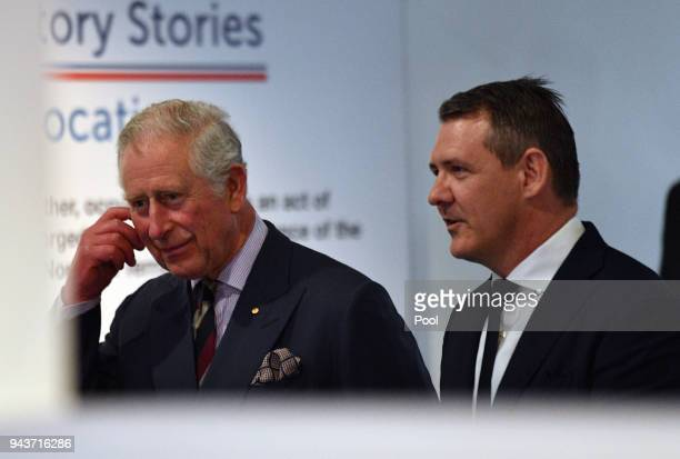 Northern Territory Chief Minister Michael Gunner arrives to greet Prince Charles Prince of Wales for a community reception at the Royal Flying...