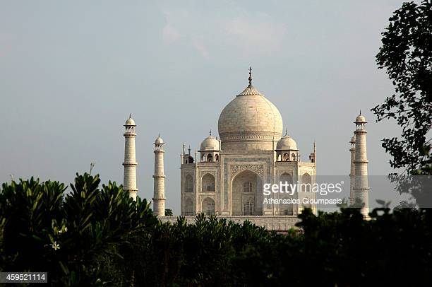 Northern view from across the river Yamunat of the famous indian sightseeing point Taj Mahal on August 08 2009 in Agra Uttar Pradesh India The UNESCO...