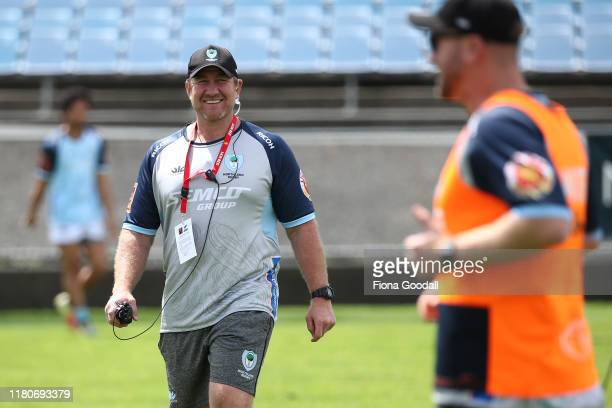 Northland coach Derren Witcombe at warm up during the round 10 Mitre 10 Cup match between Northland and Otago at Semenoff Stadium on October 13 2019...