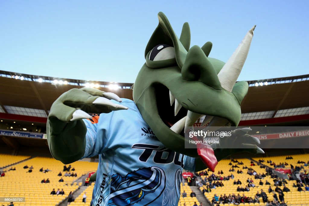 Northland mascot, Tane the Taniwha, poses during the round nine Mitre 10 Cup match between Wellington and Northland at Westpac Stadium on October 12, 2017 in Wellington, New Zealand.
