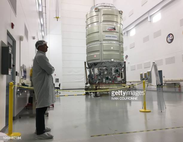 Northrop Grummans Cygnus spacecraft is seen at NASAs Wallops Island Flight Facility in Virginia on October 24 2018 The cargo ship will fly to the...