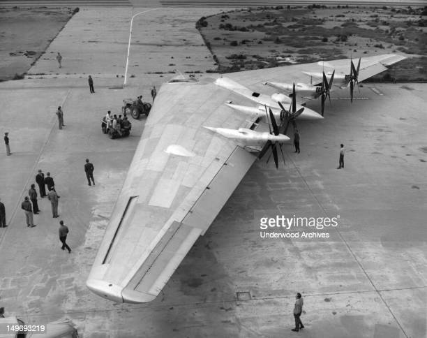 Northrop's Flying Wing Bomber XB35 is wheeled on to the runway for its first taxi tests Hawthorne California May 25 1946