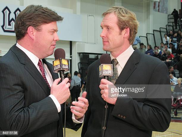Northwest announcers Greg Heister and Craig Ehlo talk before the broadcast of the game between the Gonzaga Bulldogs and the Loyola Marymount Lions on...