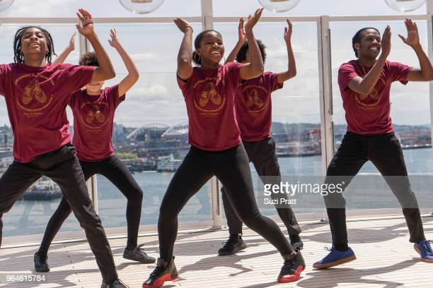 Northwest Tap Connection performs at Norwegian Bliss christening ceremony events on board Norwegian Bliss at Pier 66 on May 30 2018 in Seattle...