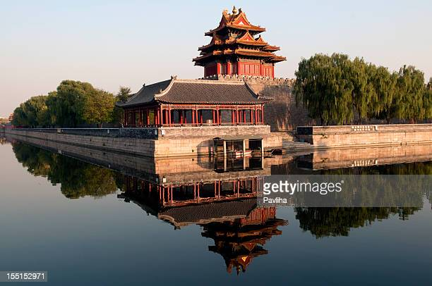 northwest wall of forbidden city beijing china - pavliha stock photos and pictures