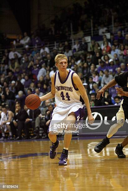 Northwestern forward Kevin Coble dribbles the ball upcourt versus Purdue at WelshRyan Arena in Evanston Illinois February 24 2007 The Boilermakers...