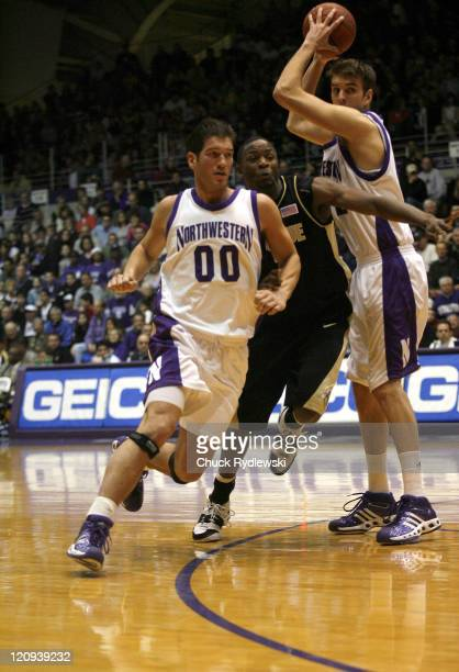 Northwestern guard Tim Doyle tries to get into a shooting position versus Purdue at WelshRyan Arena in Evanston Illinois February 24 2007 The...