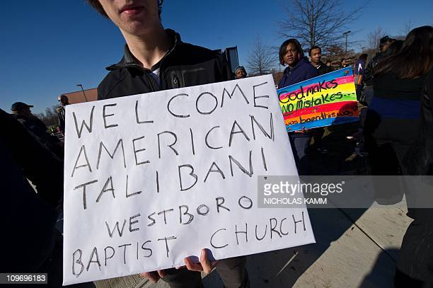 Northwestern High School students and supporters stage a counterprotest against the Westboro Baptist Church a Kansas church known for its vehement...