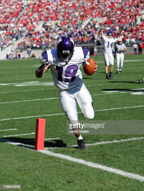 Northwestern Running Back Tyrell Sutton scores on a 5 yard touchdown reception during the game against the Ohio State Buckeyes November 12 at Ohio...
