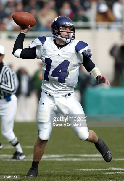Northwestern senior quarterback Brett Basanez throws a short pass versus Michigan State at Spartan Stadium East Lansing Michigan Oct 22 2005