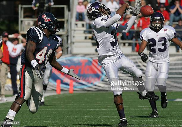 Northwestern State defensive back Josh Adams knocks down the first pass of the game to Ole Miss running back Mico McSwain at Vaught-Hemingway Stadium...