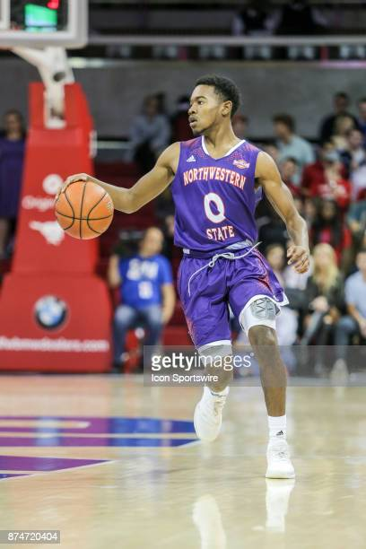 Northwestern State Demons guard CJ Jones brings the ball up court during the game between Northwestern State and SMU on November 15 2017 at Moody...