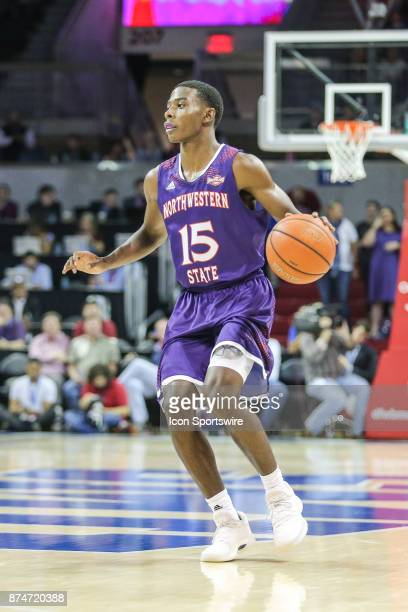 Northwestern State Demons guard Czar Perry brings the ball up court during the game between Northwestern State and SMU on November 15 2017 at Moody...