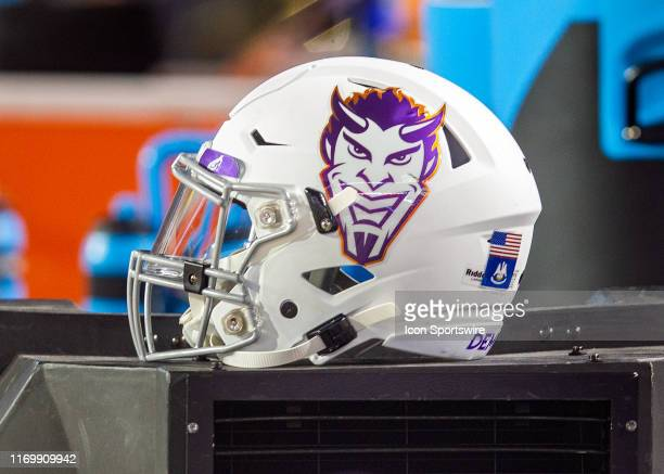 Northwestern State Demons helmet rests on the sideline during a game between the Northwestern State Demons and the LSU Tigers at Tiger Stadium in...