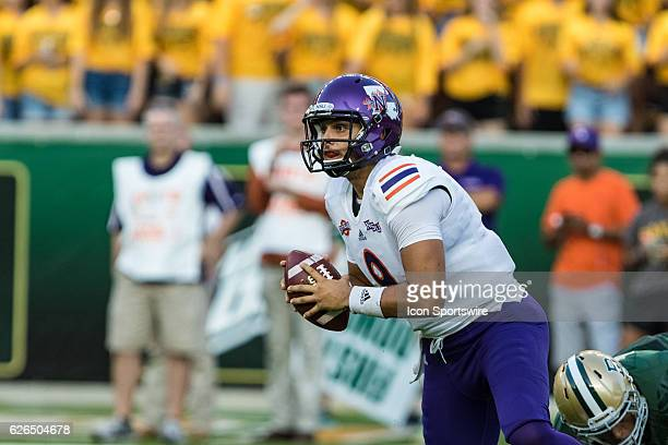 Northwestern State Demons quarterback Brooks Haack tries to find a receiver downfield during the game between the Baylor Bears and Northwestern State...