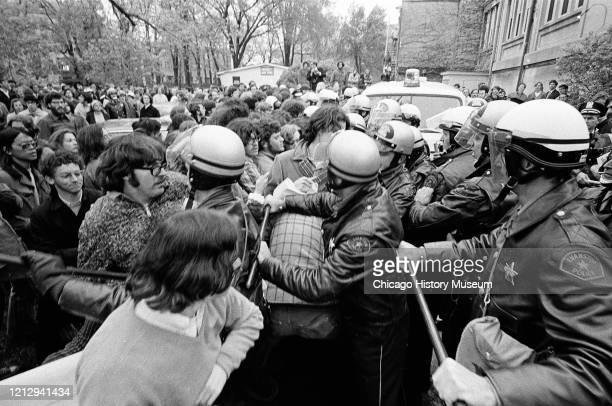 Northwestern Students protesting the Kent State shootings clash with Evanston police, Evanston, Illinois, May 12, 1970.