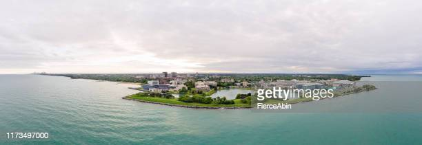 northwestern university campus aerial panorama - ncaa stock pictures, royalty-free photos & images
