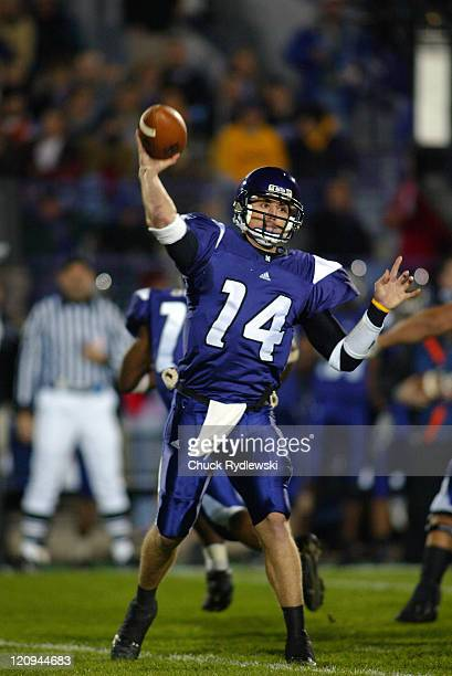 Northwestern University Wildcats QB Brett Basanez fires a pass during the game against the University of Michigan Wolverines at Ryan Field in...