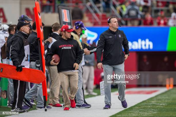 Northwestern Wildcat head coach Pat Fitzgerald is pacing on the sideline with Nebraska in the lead during the second half November 04 2017 at...