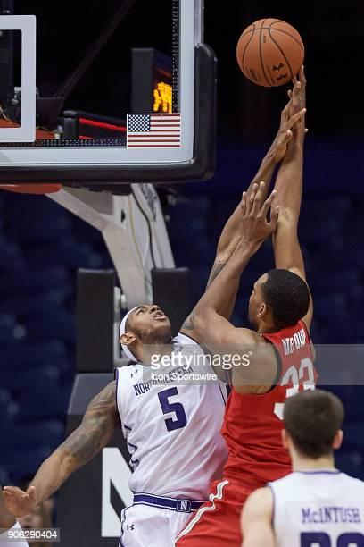 Northwestern Wildcats center Dererk Pardon battles with Ohio State Buckeyes forward Keita BatesDiop during the BIG Ten college basketball game...