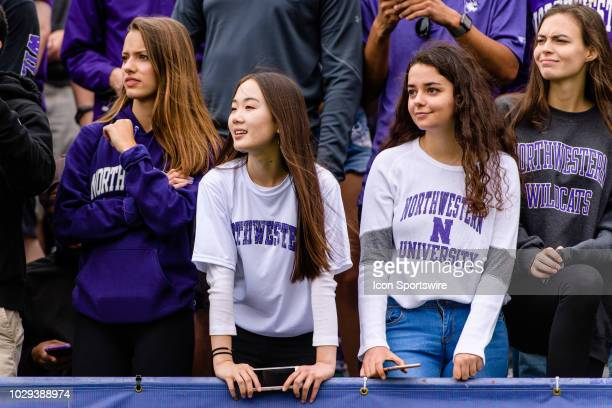 Northwestern Wildcats fans looks on during a college football game between the Duke Blue Devils and the Northwestern Wildcats on September 08 at Ryan...