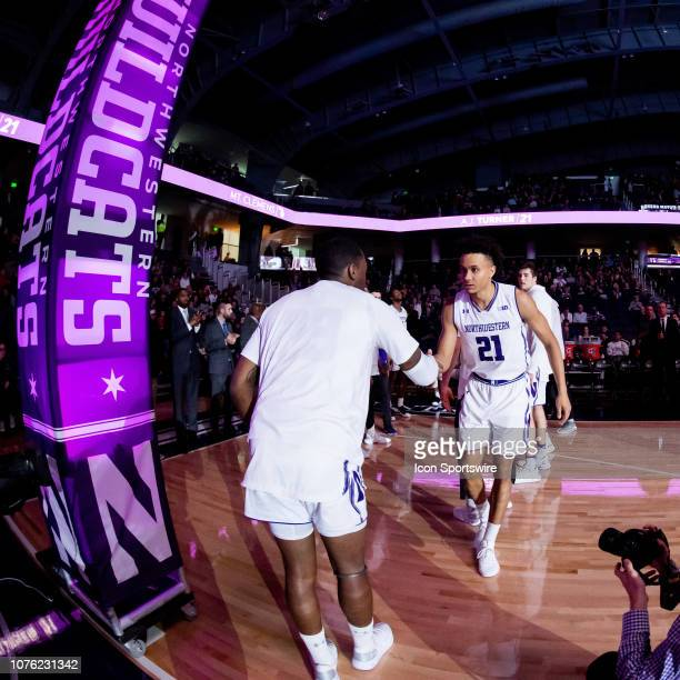 Northwestern Wildcats forward A.J. Turner is introduced prior to a game between the Columbia Lions and the Northwestern Wildcats on December 30 at...