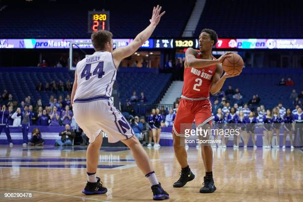 Northwestern Wildcats forward Gavin Skelly battles with Ohio State Buckeyes guard Musa Jallow during the BIG Ten college basketball game between the...