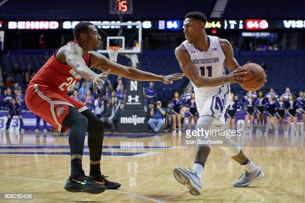 Northwestern Wildcats guard Anthony Gaines battles with Ohio State Buckeyes forward Andre Wesson during the BIG Ten college basketball game between...