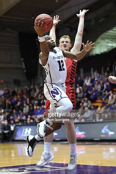 Northwestern Wildcats guard Isiah Brown goes in for a lay in the first half during a game between the Northwestern Wildcats and the Eastern...