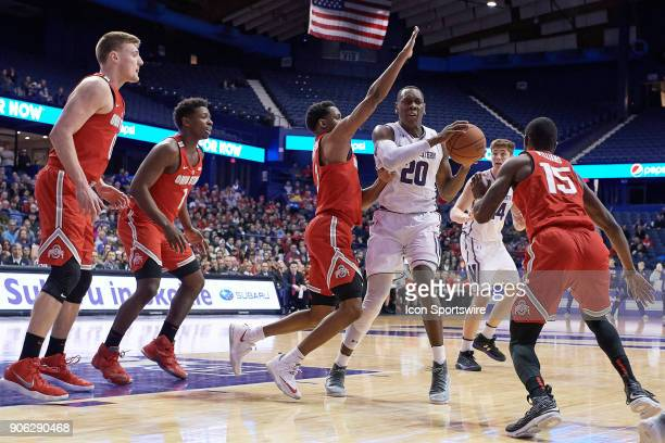 Northwestern Wildcats guard Scottie Lindsey battles for the basketball during the BIG Ten college basketball game between the Northwestern Wildcats...