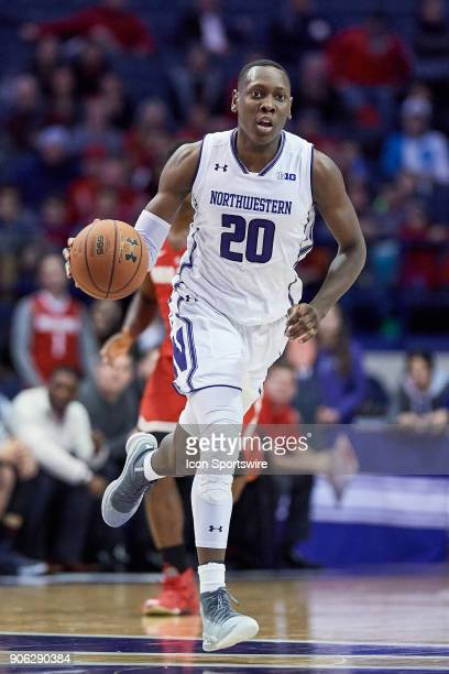 Northwestern Wildcats guard Scottie Lindsey dribbles the basketball during the BIG Ten college basketball game between the Northwestern Wildcats and...