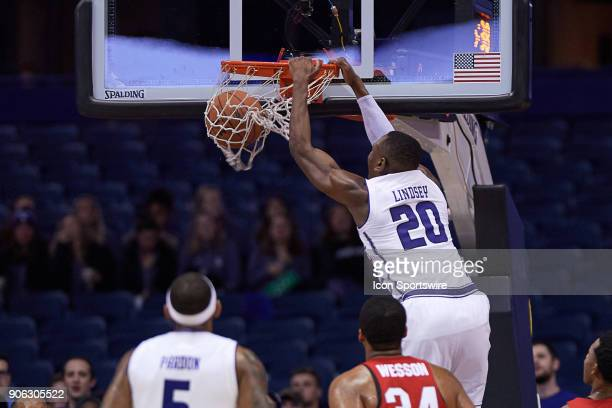 Northwestern Wildcats guard Scottie Lindsey dunks the basketball during the BIG Ten college basketball game between the Northwestern Wildcats and the...