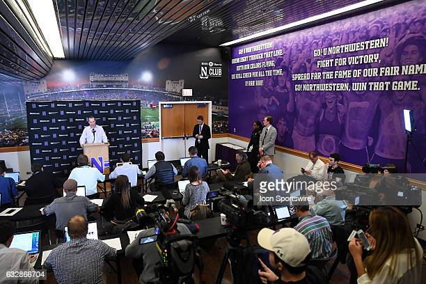 Northwestern Wildcats head coach Chris Collins answers questions from the media after a game against the Nebraska Cornhuskers on January 26 at the...