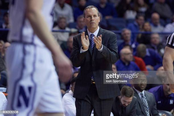 Northwestern Wildcats head coach Chris Collins reacts after a play during the BIG Ten college basketball game between the Northwestern Wildcats and...